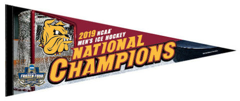University of Minnesota-Duluth Bulldogs 2019 NCAA Men's Hockey Frozen Four CHAMPIONS Official Premium Felt Pennant - Wincraft Inc.