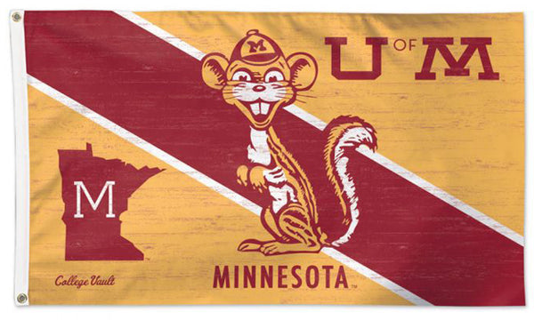 Minnesota Golden Gophers Retro 1950s-Style College Vault Collection NCAA Deluxe-Edition 3'x5' Flag