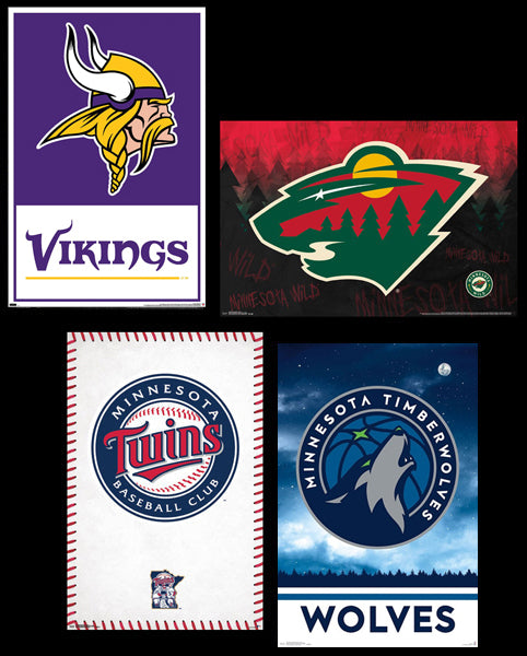 COMBO: Minnesota Sports 4-Poster Combo Set (Twins, Vikings, Timberwolves, Wild)
