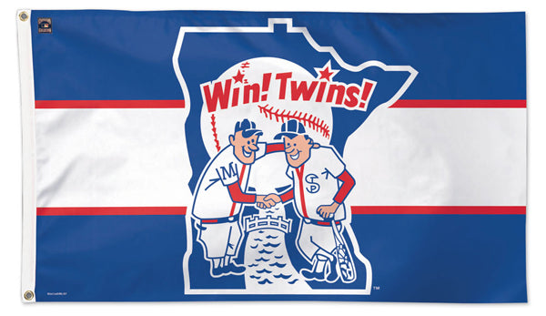 "Minnesota Twins ""Win! Twins!"" (1976-86-Style) Cooperstown Collection 3'x5' Team Banner Deluxe-Edition Flag - Wincraft"