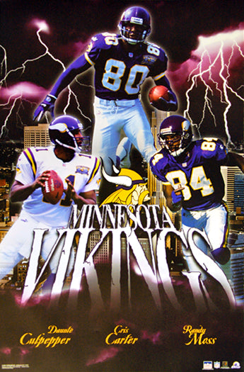 "Minnesota Vikings ""Lightning Strike"" (Culpepper, Carter, Moss) Poster - Starline Inc. 2001"