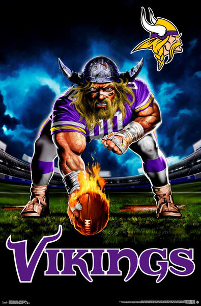 "Minnesota Vikings ""Ferocious Football"" NFL Theme Art Poster - Liquid Blue/Trends Int'l."