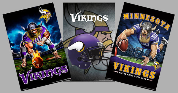 COMBO: Minnesota Vikings Football NFL Theme Art 3-Poster Combo Set - Trends International