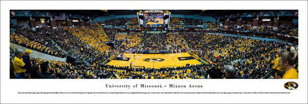 "Missouri Tigers Basketball ""Mizzou Arena Game Night"" Panoramic Poster Print - Blakeway Worldwide"