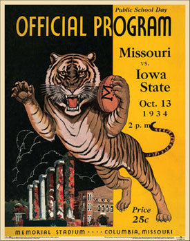 Missouri Tigers 1934 Vintage Program Poster Reprint - Asgard