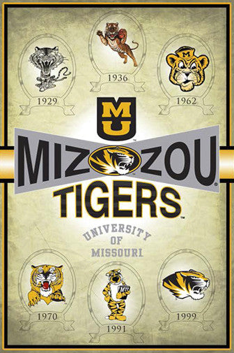 Missouri Tigers Truman Logo History (1929-1999) Official NCAA Poster - ProGraphs Inc.