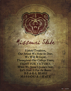 "Missouri State Bears ""Fight for Victory"" Official Poster Print - ProGraphs Inc."