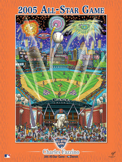 MLB All-Star Game 2005 (Detroit) Commemorative Pop Art Poster by Charles Fazzino
