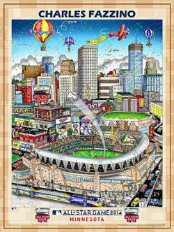 MLB All-Star Game 2014 (Minneapolis) Commemorative Pop Art Poster by Charles Fazzino