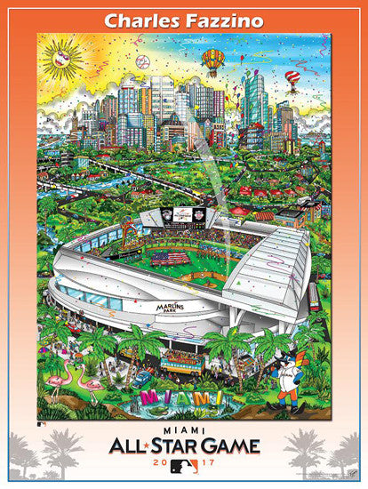 MLB All-Star Game 2017 (Miami) Official Commemorative Pop Art Poster by Charles Fazzino