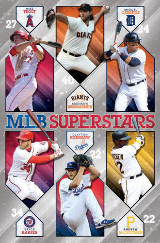 MLB Baseball Superstars Poster (Trout, Bumgarner, Cabrera, Harper, Kershaw, McCutchen) - Trends