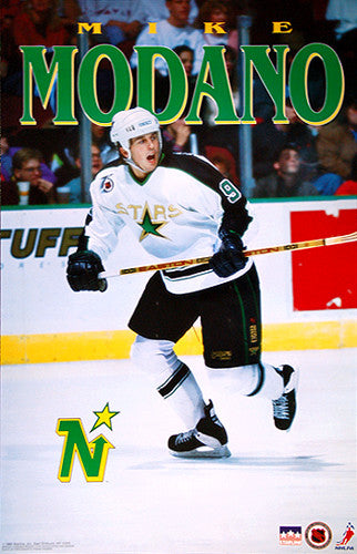 "Mike Modano ""Superstar"" Minnesota North Stars Poster - Starline 1992"