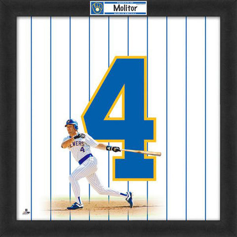 "Paul Molitor ""Number 4"" Milwaukee Brewers MLB FRAMED 20x20 UNIFRAME PRINT - Photofile"