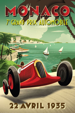 Monaco Grand Prix 1935 Art Deco Style Auto Racing Tribute Poster by Michael Crampton - Eurographics
