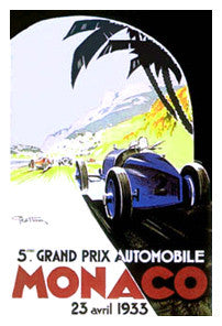 "Monaco 1933 ""5eme Grand Prix Automobile"" Official Grand Prix Event Poster Reprint - AAC"