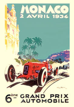 Monaco Grand Prix 1934 Vintage Poster Giclee Reprint - Clouet Vintage Reprints