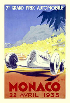 Monaco Grand Prix 1935 Auto Racing Poster Premium Giclee Reprint - Clouet Vintage Reprints
