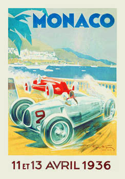 Monaco Grand Prix 1936 Auto Racing Premium Giclee Poster Print - Clouet Vintage Reprints