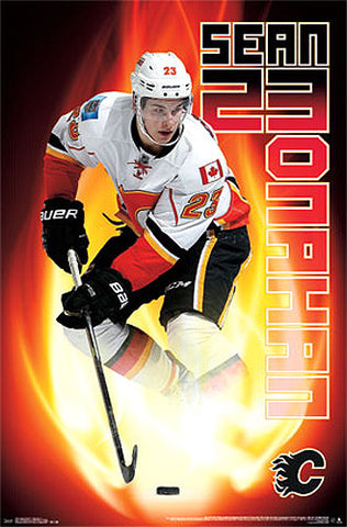 "Sean Monahan ""On Fire"" Calgary Flames NHL Action Poster - Costacos Sports 2014"