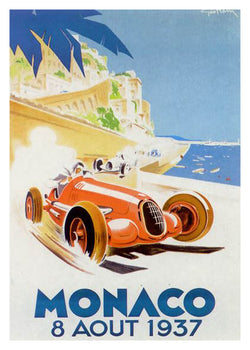 Monaco 1937 Official Grand Prix Event Poster Reprint (Artist George Ham) - AAC