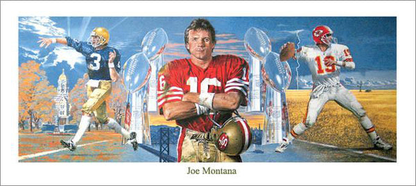 "Joe Montana ""The Legend"" Career Retrospective Poster by Merv Corning (1995)"
