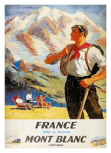 Mont Blanc Climber (c.1949) Mountain Climbing Poster - Clouet Vintage Reprints