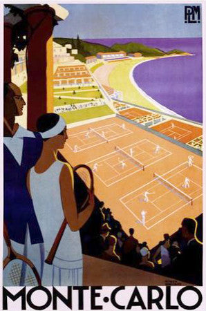 Monte Carlo Tennis Classic (c.1925) Poster Reprint by Artist Roger Broders - Image Source Inc.