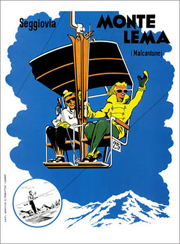 "Monte Lema (Malcantone) ""Chair Lift Fun"" c.1950 Switzerland Skiing Vintage Poster Reprint"