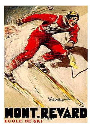 "Vintage Skiing ""Mont Revard"" (c.1930s) by Paul Ordner Poster - Editions Clouets"