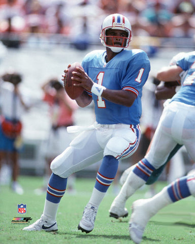 "Warren Moon ""Drop Back"" (c.1989) Houston Oilers Premium Poster Print - Photofile Inc."