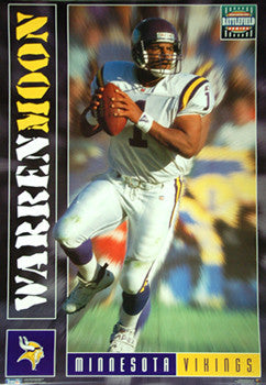 "Warren Moon ""Battlefield"" Minnesota Vikings Poster - Costacos Brothers 1995"