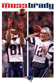 "Tom Brady and Randy Moss ""Connection"" New England Patriots Poster - Costacos 2008"