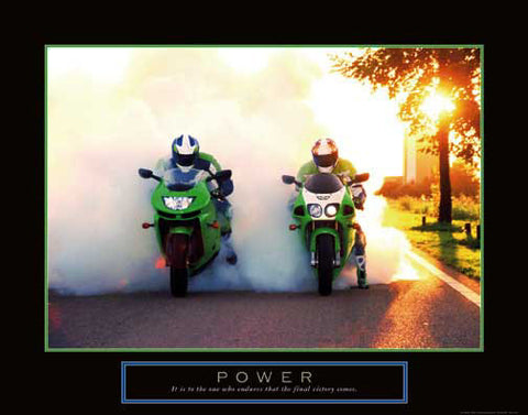 "Motorcycle Racing ""Power"" Motivational Poster - Front Line"