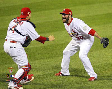 "Jason Motte and Yadier Molina ""Victory!"" (2011 WS Game 7) - Photofile 16x20"