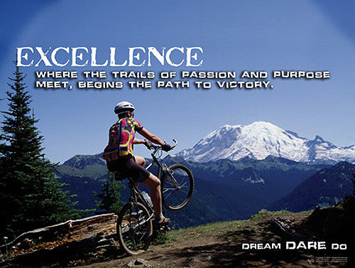 "Mountain Biking ""Excellence"" Motivational Inspirational Poster - Jaguar Inc."