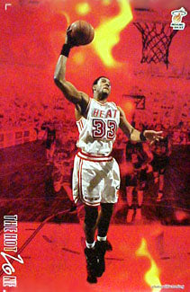 "Alonzo Mourning ""The Hot Zone"" Miami Heat NBA Action Poster - Costacos 1996"