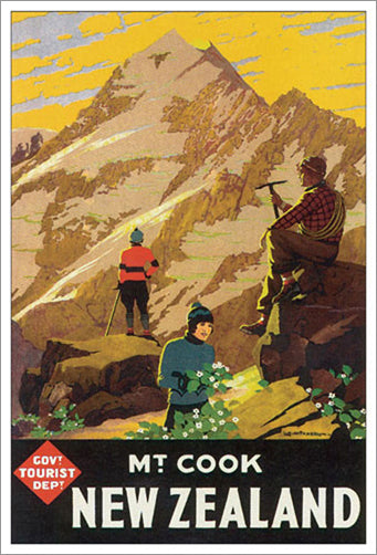 "New Zealand ""Climbing Mt. Cook"" (1936) Vintage Poster Reprint - Eurographics"