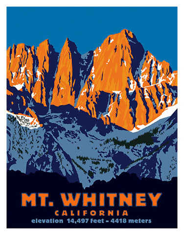 Mt. Whitney, California Vintage-Style Giclee Poster Print - McGaw Graphics 2013
