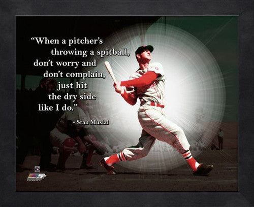 "Stan Musial ""The Dry Side"" St. Louis Cardinals FRAMED 16x20 PRO QUOTES PRINT - Photofile"