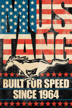 "Ford Mustang ""Built for Speed - Since 1964"" Retro Style Muscle Car Poster - Aquarius Images"