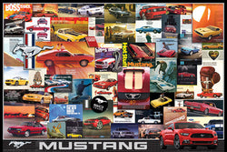 Ford Mustang 50th Anniversary Classic Car Ad Collage Poster - Eurographics Inc.