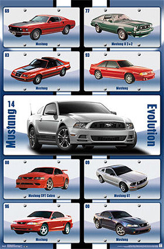 "Ford Mustang ""Evolution"" Official Autophile American Muscle Car Poster - Trends 2014"