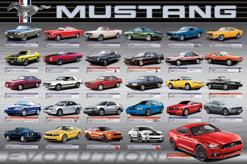 Ford Shelby Mustang EVOLUTION 9 CLASSIC CARS 1966-2010 Autophile Wall POSTER