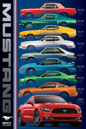 "Ford Mustang 50th Anniversary ""Rainbow"" (9 Classic Sportscars) Autophile Poster - Eurographics Inc."