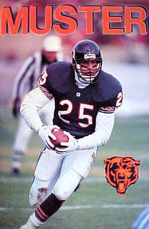 "Brad Muster ""Action"" Chicago Bears NFL Action Poster - Starline 1992"