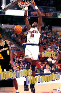 "Dikembe Mutombo ""PowerSlam"" Denver Nuggets NBA Action Poster - Starline 1995"