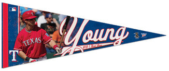 "Michael Young ""Action"" Premium Felt Collector's Pennant (LE /2010)"
