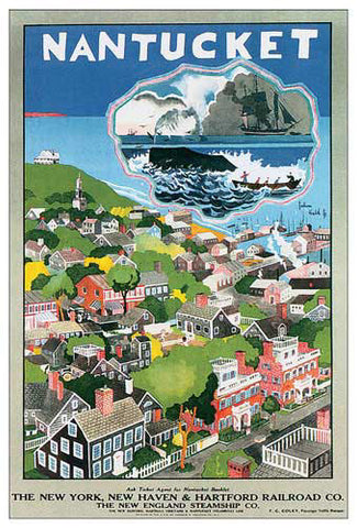 "Nantucket, MA ""Bird's Eye View"" c.1925 Vintage Travel Poster Reprint"