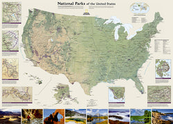 National Parks of the United States National Geographic 30x42 Wall Map Poster - NG Maps