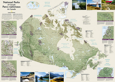 National Parks of the Canada National Geographic 30x42 Wall Map Poster - NG Maps